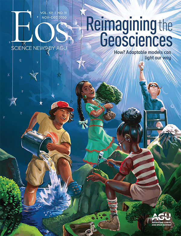An illustration of four children exploring Earth on the cover of Eos's November-December 2020 issue.