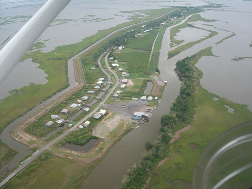 Aerial view of the Isle de Jean Charles in Louisiana's Mississippi Delta