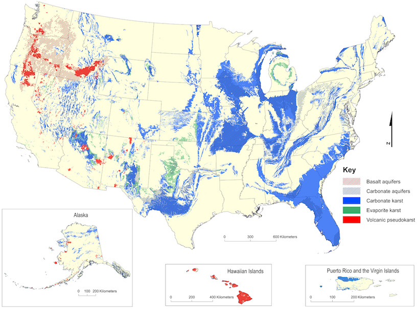 Map of karst geology in the United States, with the most common types being carbonate karst and aquifers, which are especially common in the eastern United States, and volcanic pseudokarst, which appears mostly in the Pacific Northwest and throughout Hawaii