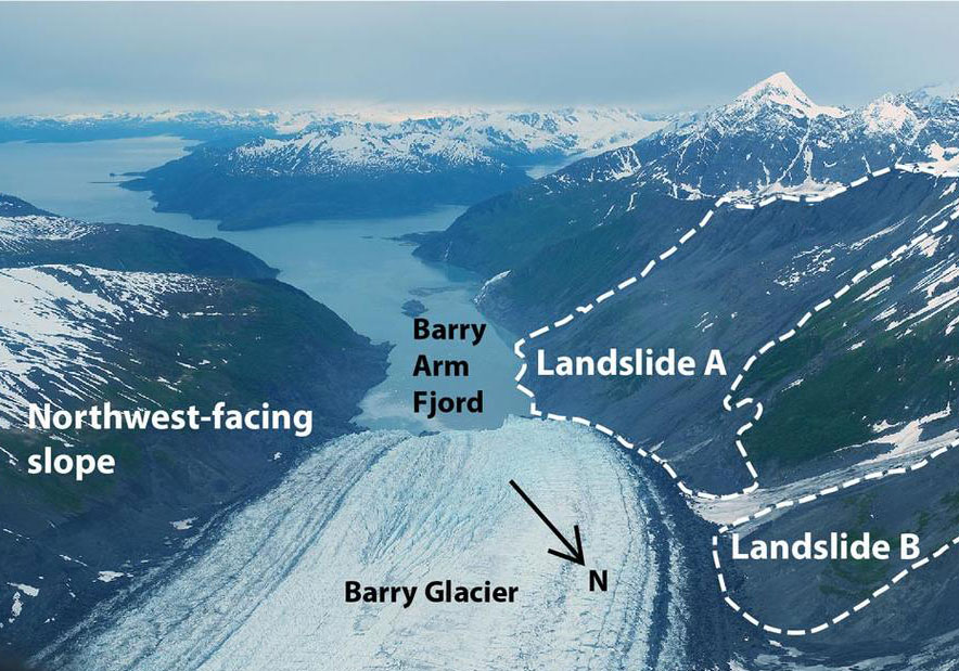 An image of slowly moving landslides above Barry Arm Fjord in Alaska