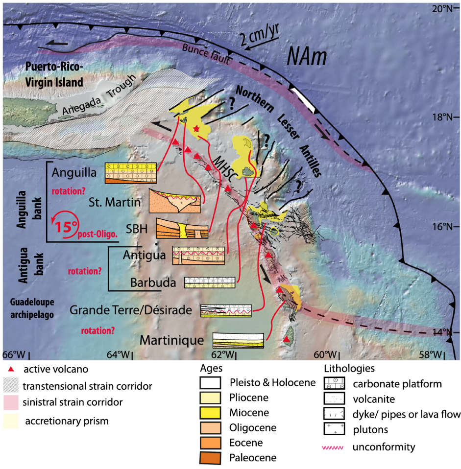 Structural map of the northeastern edge of the Caribbean plate