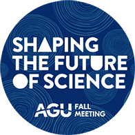 "Blue circle with white text reading ""Shaping the Future of Science"" and ""AGU Fall Meeting"""
