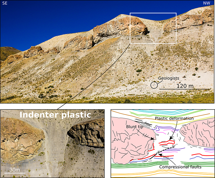 Figure showing a mountainside where an andesitic sill is emplaced in organic-rich shale, as well as a close up photo and an interpreted drawing of the feature
