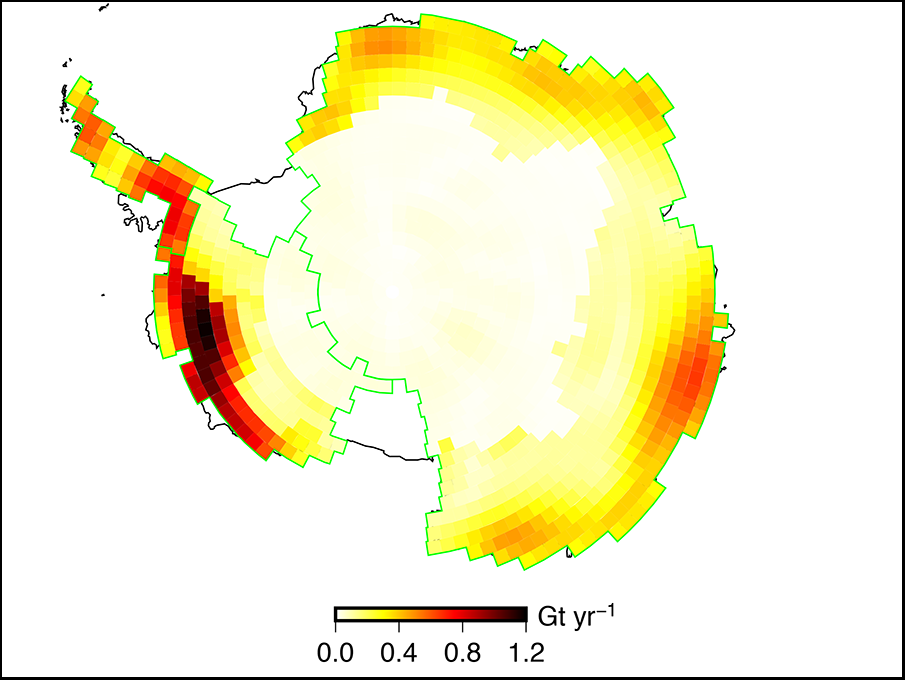 Map of mass rate changes across the Antarctic Ice Sheet