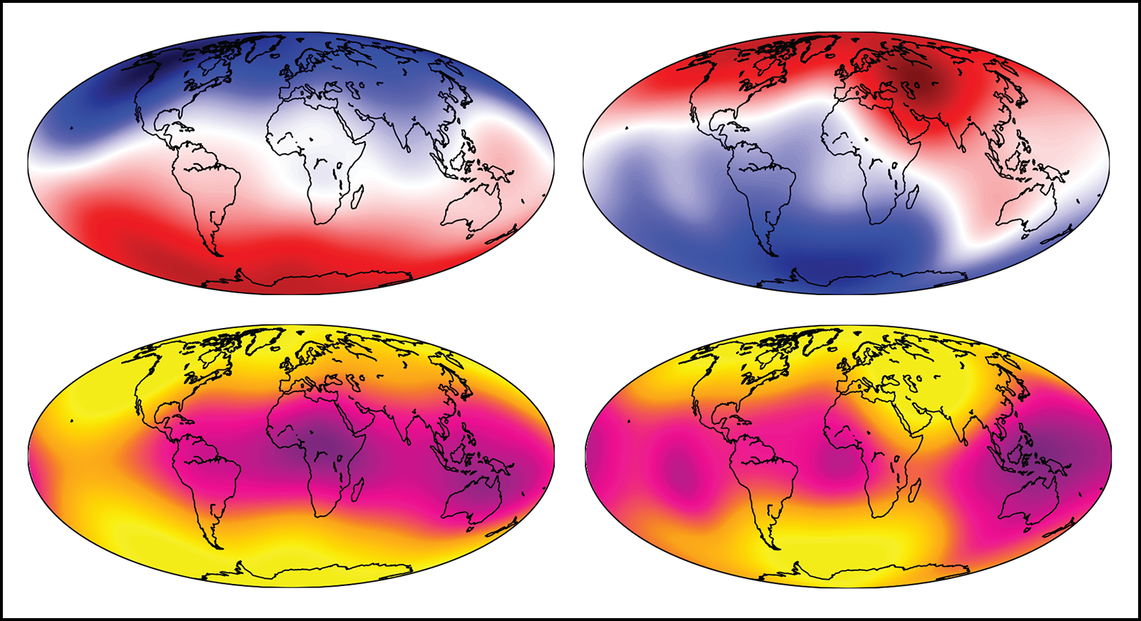 Figures depicting a reversal of Earth's magnetic field produced in a simulation of the geodynamo