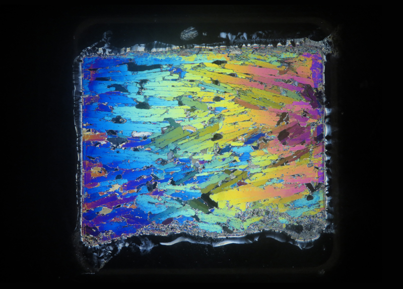 A false color thin section of platelet ice