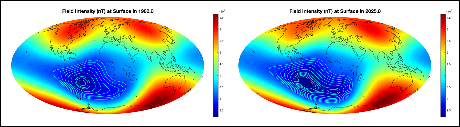 A world map of the magnetic field intensity today and in 5 years