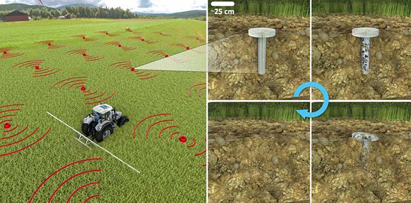 Illustration of biodegrading crop sensors