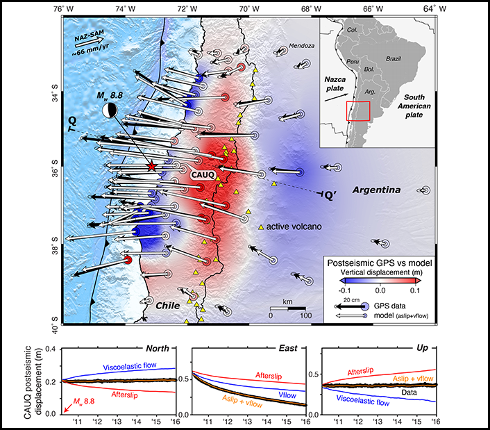 Map showing location, focal mechanism, and displacements for the 2010 Maule earthquake
