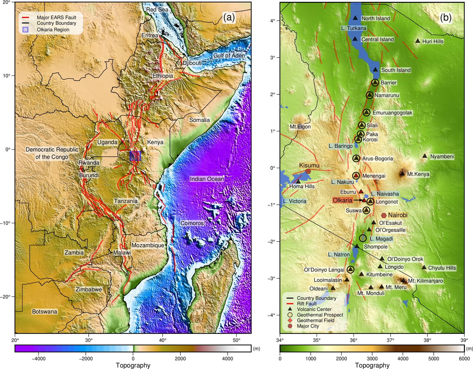 Maps of regional topography around the East African Rift System and Olkaria geothermal field
