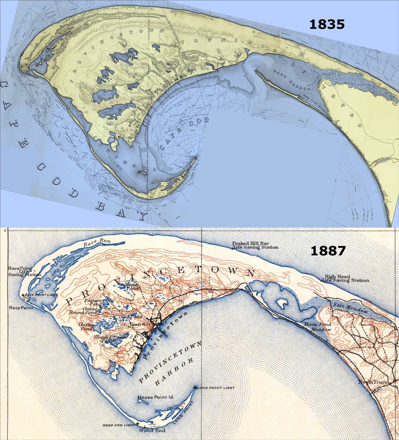 Two maps from 1835 and 1887 show the tip of Cape Cod before and after the East Harbor was sealed to build a railroad line to Provincetown.