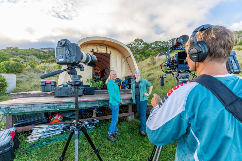 The author interviews researcher on camera at a field site in Nakula Natural Area Reserve, Maui, Hawaiʻi