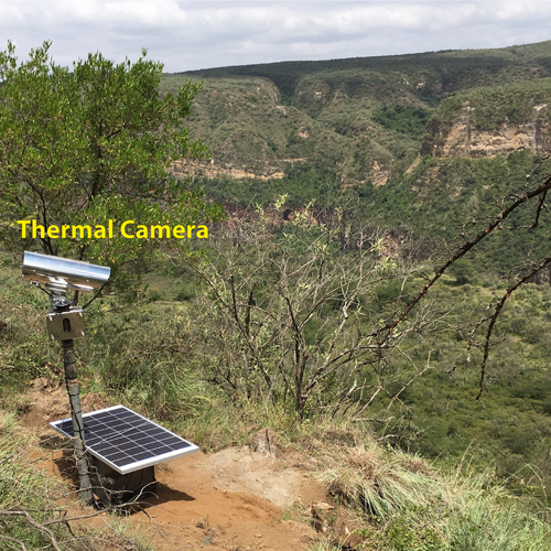 A thermal camera in the field overlooking the bottom of Ol Njorowa Gorge
