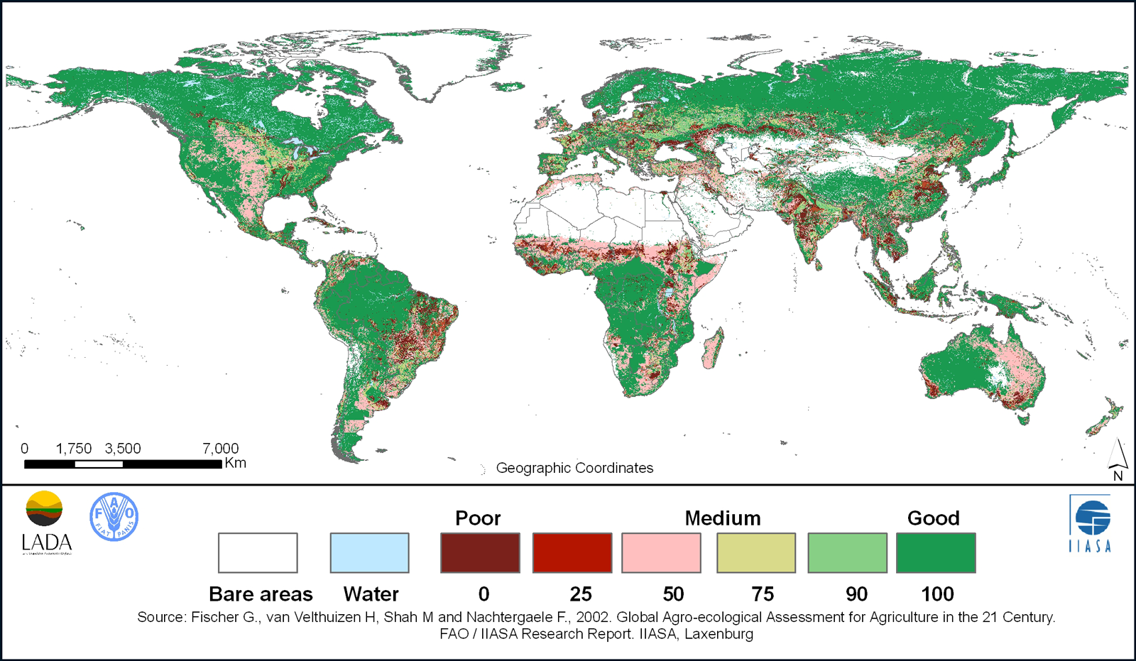 Map of the world color coded by relative soil health