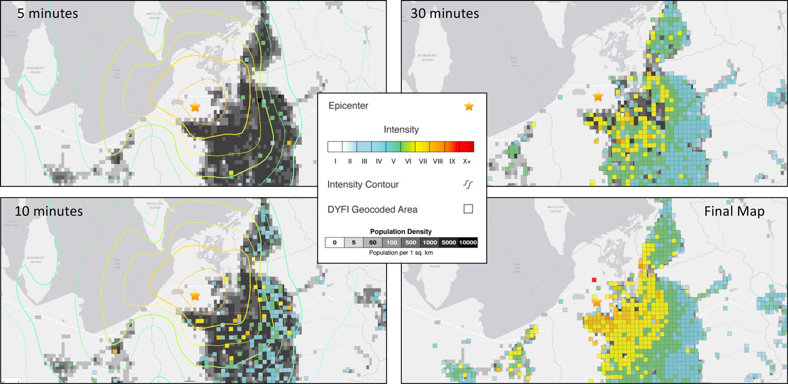 Figure showing earthquake shaking intensity data for the 2020 magnitude 5.7 Magna, Utah, earthquake near Salt Lake City