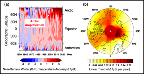 Figures showing the zonally averaged near-surface Arctic air temperature anomaly and the linear trend of the winter mean near-surface air temperature