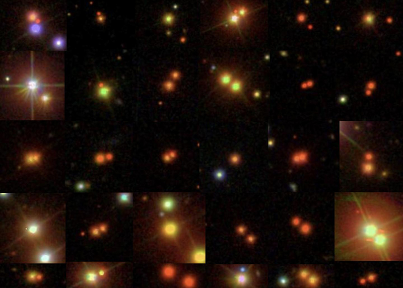 Spacecraft images of binary stars arrayed in a gridded collage