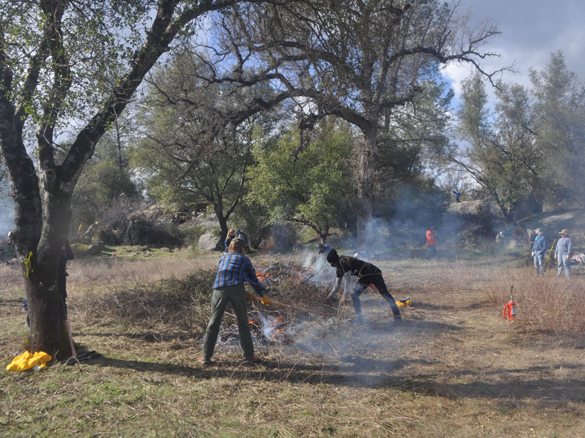 Tribal members and state agency representatives practice cultural burning in Mariposa, Calif., in February 2021.