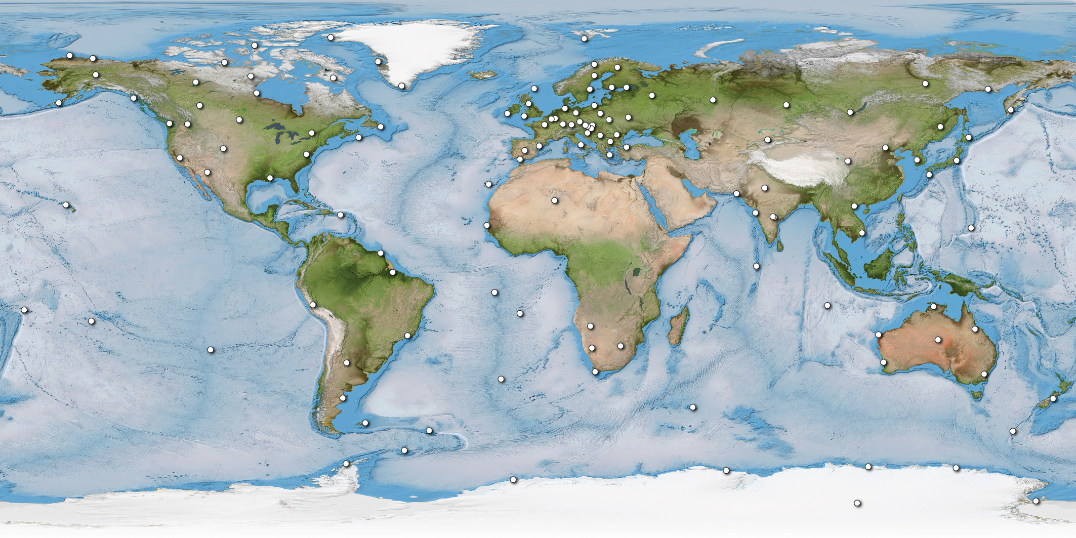 Map of INTERMAGNET magnetic observatories in 2019