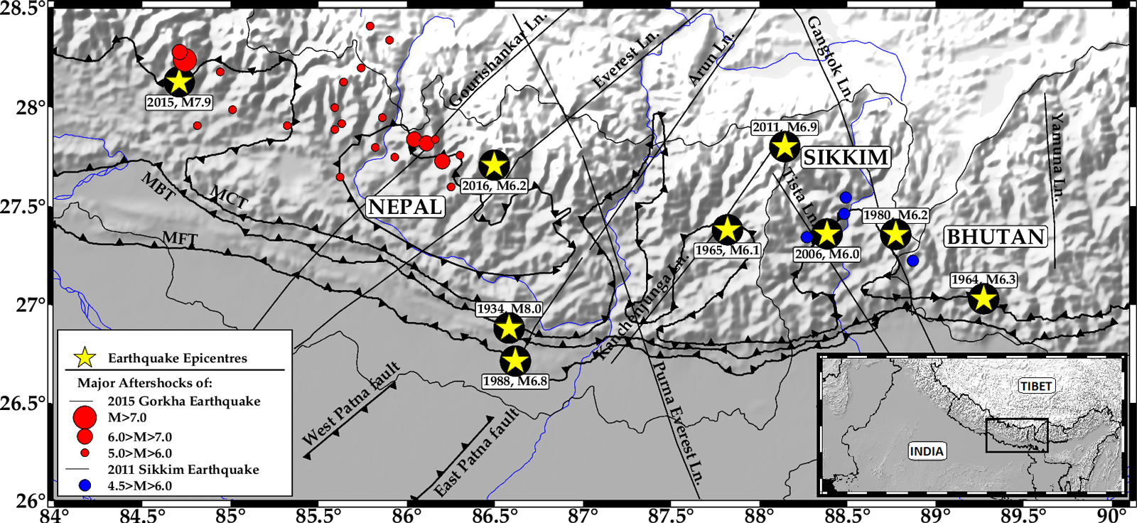 Earthquake map of Sikkim and the adjoining Himalaya region