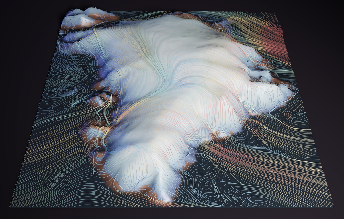 Illustration of winds over the Greenland Ice Sheet taken from a simulation run using the atmospheric component of CESM2