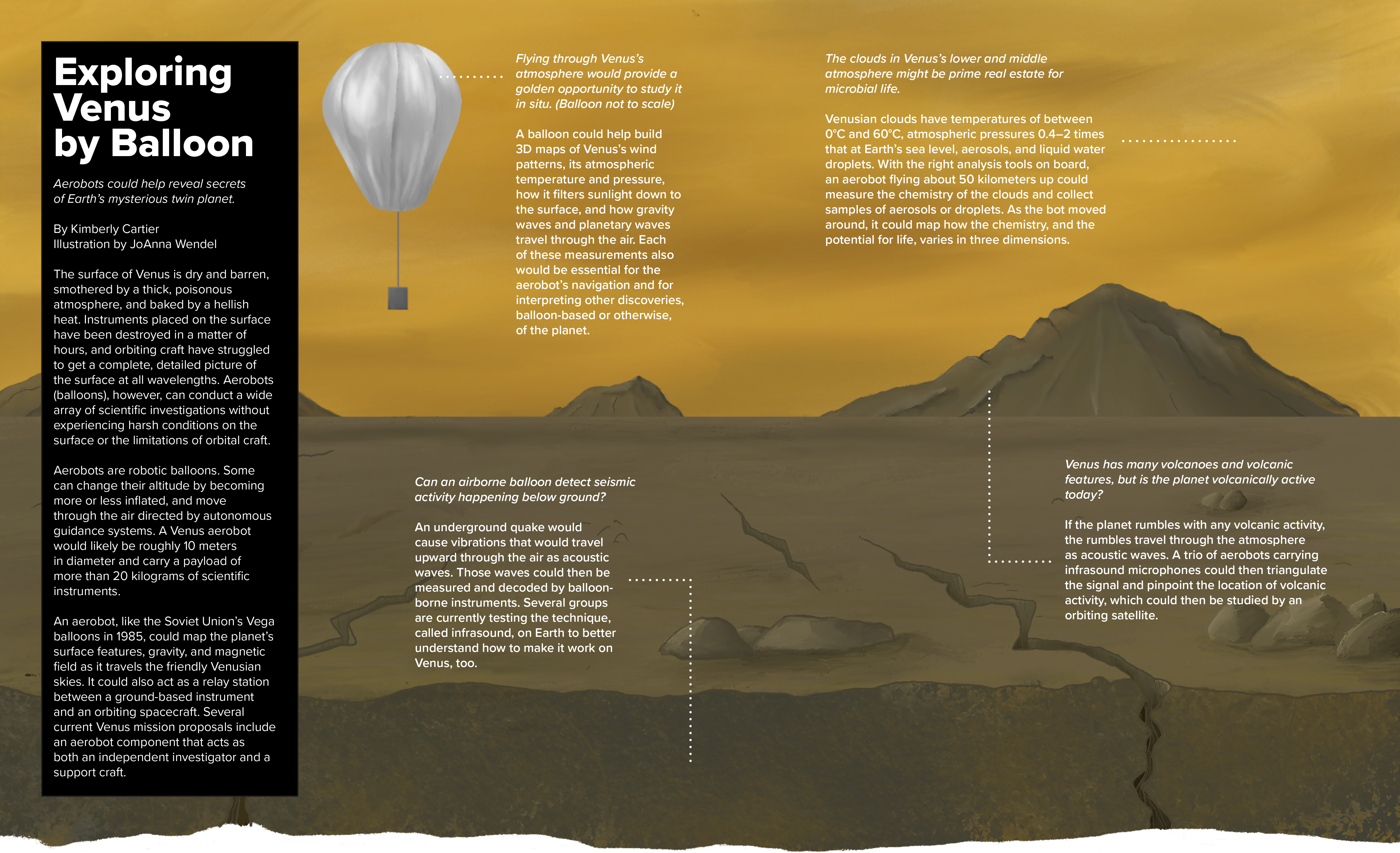 An infographic explaining how robotic balloons could help explore Venus
