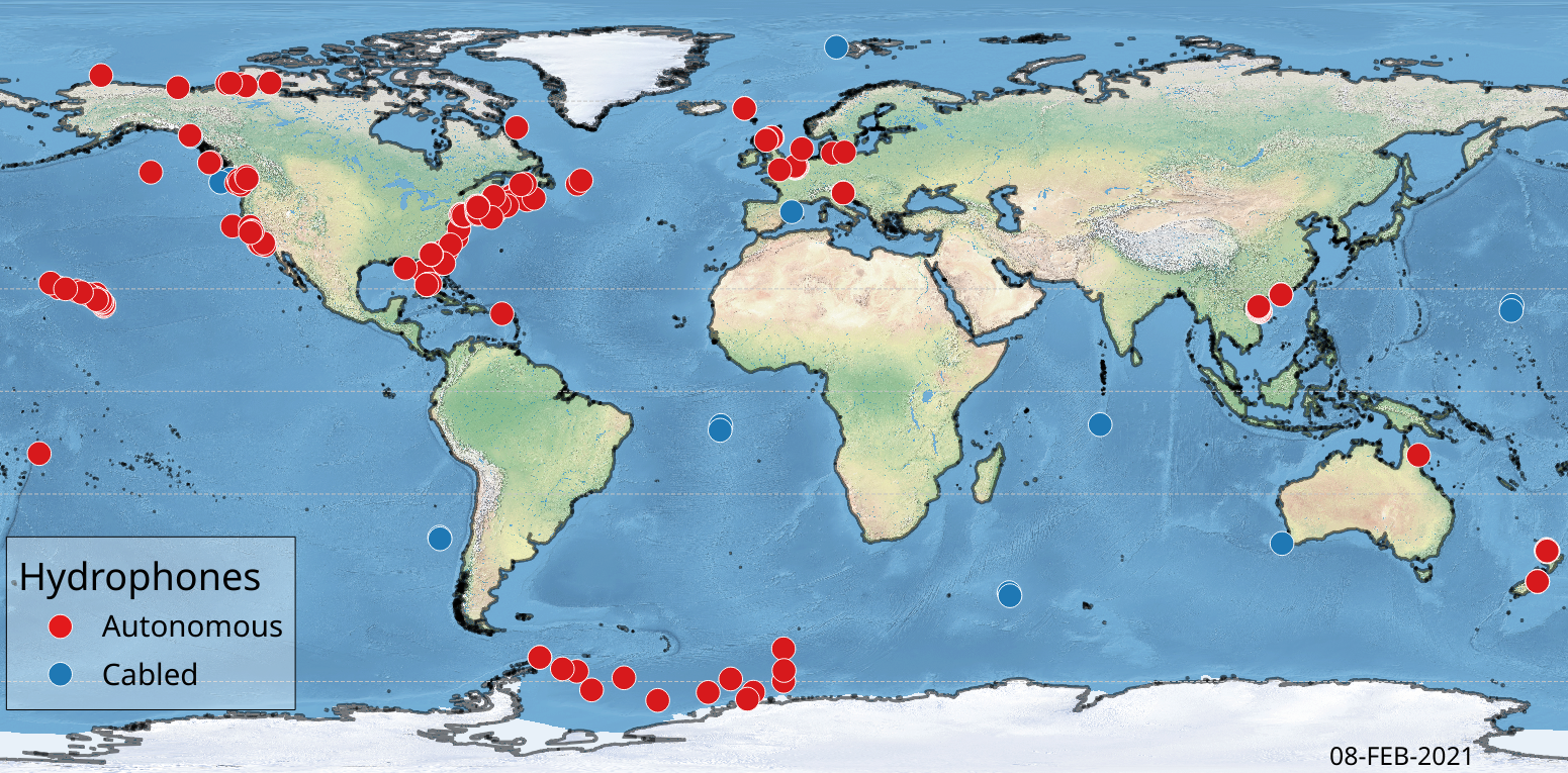 Map of civilian hydrophones that could study the effects of the COVID-19 pandemic on ocean sound