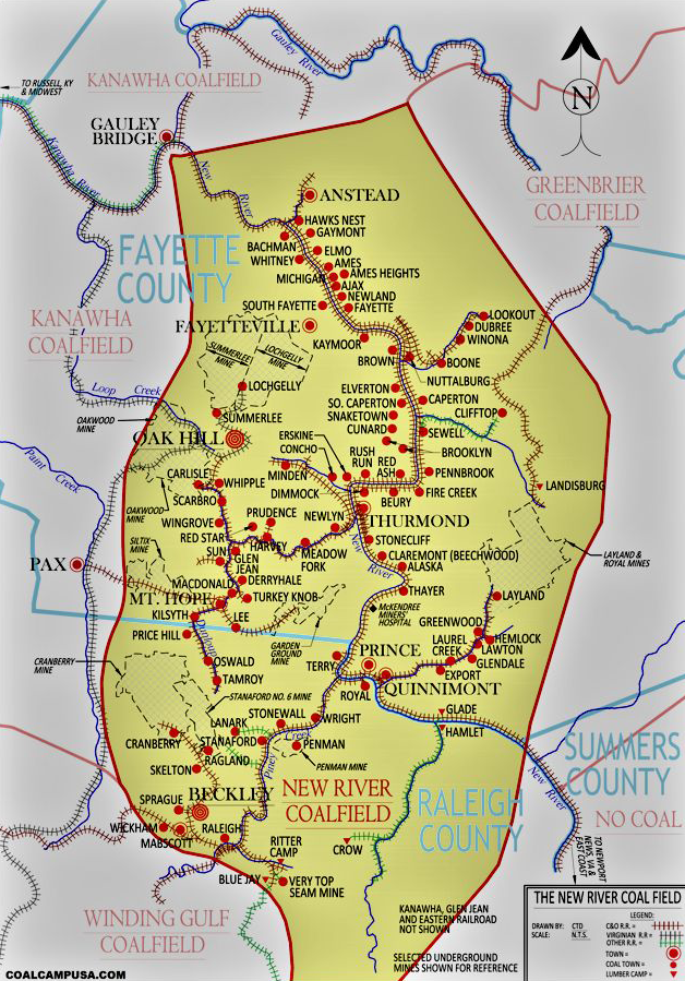 A line map showing the locations of dozens of coal company towns in the New River Coalfield