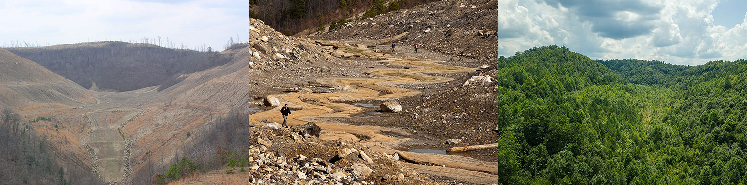 A barren landscape of rubble left by a mountaintop removal mining operation, photographed before and after restoration efforts
