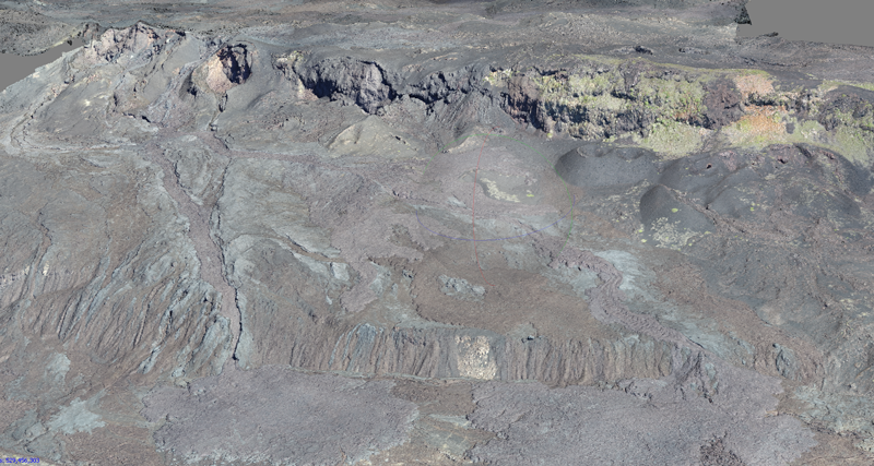 3D generated image of lava flows on Sierra Negra