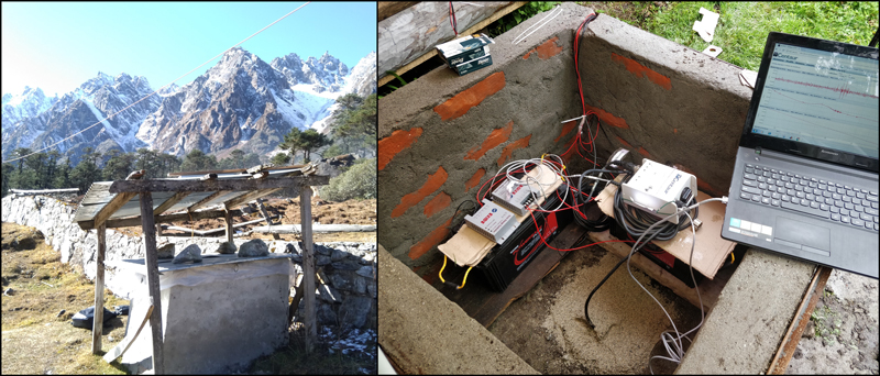 Solar panel powering seismic station SK15 and instruments inside the station