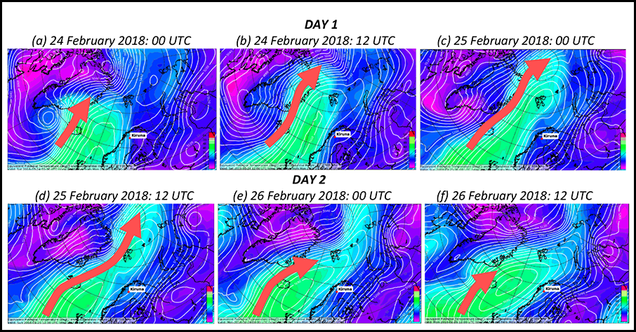 Time sequence of images showing a warm air intrusion event