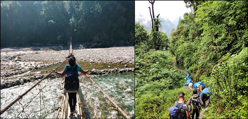 People cross a narrow bridge over a river (left) and hike on a narrow path through jungle (right)