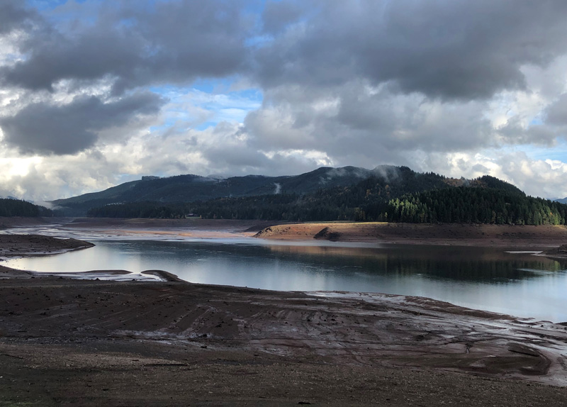 View of the water reservoir at Fall Creek Dam in Oregon