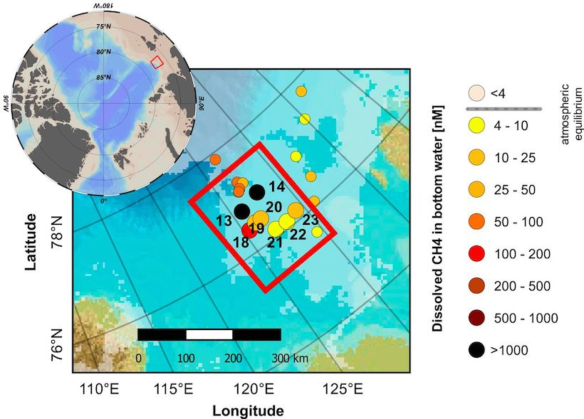 Map of the Laptev Sea showing sites of methane concentrations