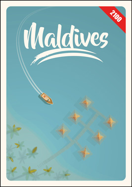 Illustration of drowned palm trees and tourist cabanas in a nearly drowned Maldivian coastal resort