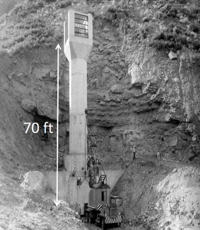 A sediment outlet tower structure under construction in 1961