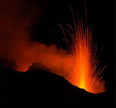 Volcanic eruption on Mount Stromboli in 2015.
