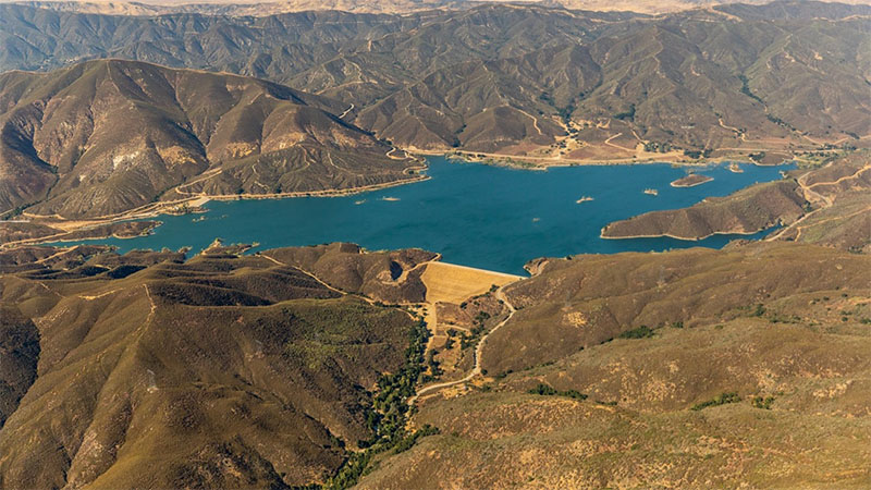 A water storage dam in Los Angeles, California.