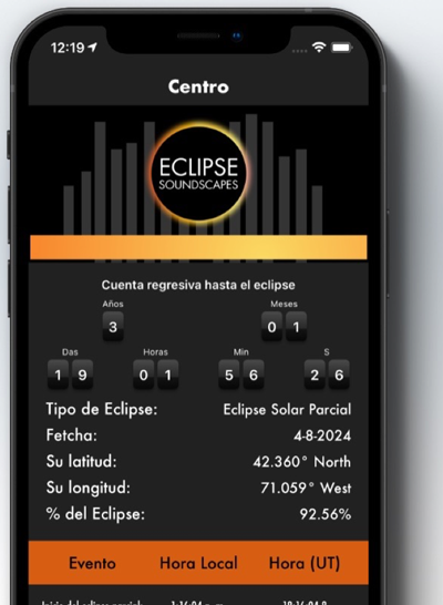A screen capture of the Eclipse Soundscapes mobile application showing the eclipse tracking function in Spanish. The screen shows information about the partial solar eclipse in April 2024 and a countdown clock to the event.