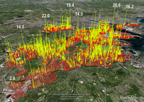 A map of Boston showing spikes in methane concentrations