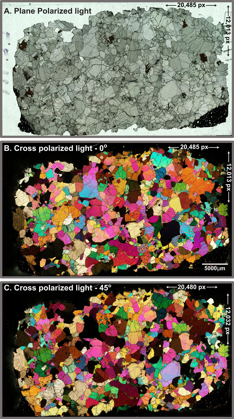 Three microscopic images of a rock sample. The first image is an aggregate of medium green minerals. The second two images are of the same aggregate, but minerals are bright green, pink, red, yellow, and violet.