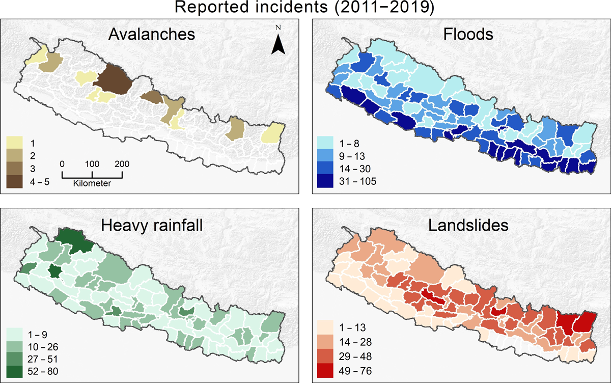 Maps showing reported incidents of avalanches, floods, heavy rainfall events, and landslides from 2011 to 2019 across Nepal
