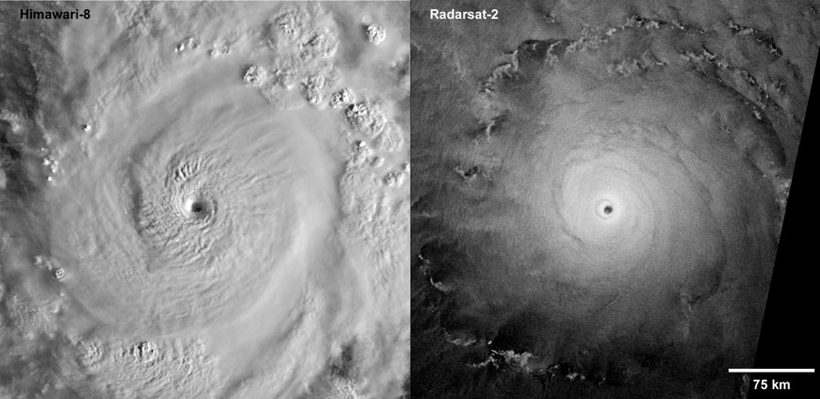 Two satellite images of Super Typhoon Goni over the Pacific Ocean taken at almost the same time on 30 October 2020  - satellite images super typhoon goni - Chasing Cyclones from Space – Eos
