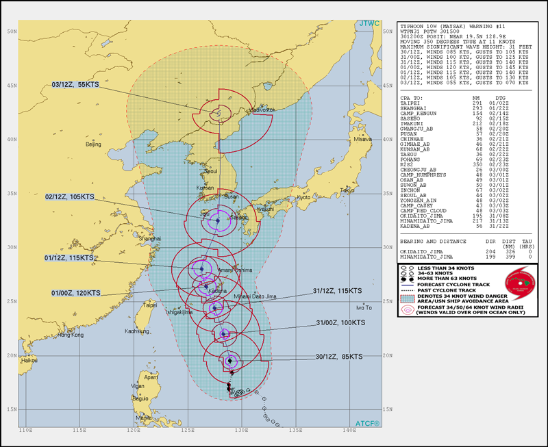 Graphic showing Typhoon Maysak's position, speed and travel direction, and predicted areas covered by high winds on 30 August 2020