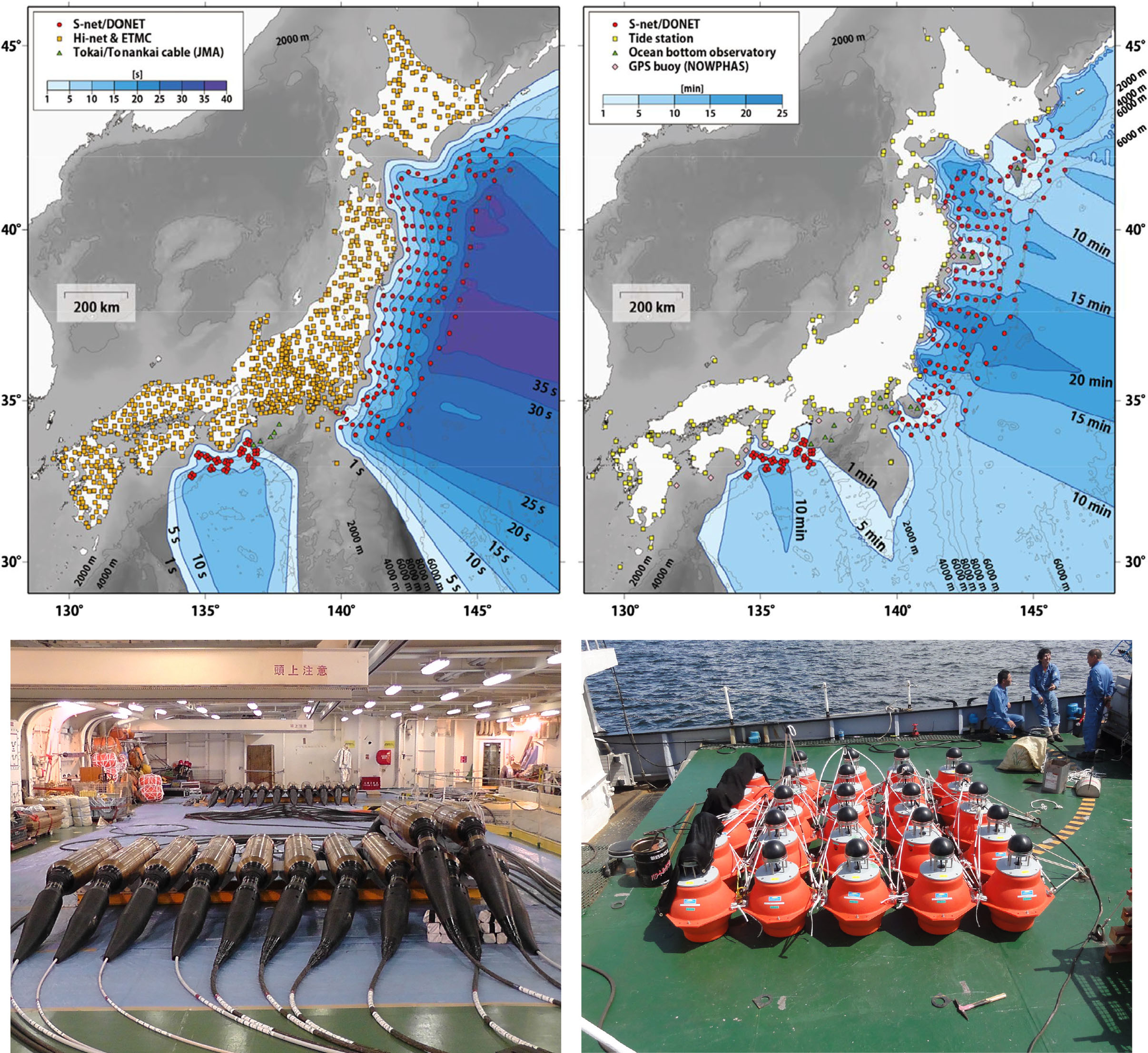Images of new offshore seismic and geodetic observation system models (top). Photographs of sensors for measuring seismic activity (bottom).