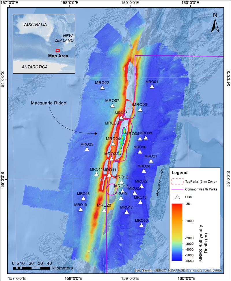 Map showing bathymetry along Macquarie Ridge and locations of ocean bottom seismometers