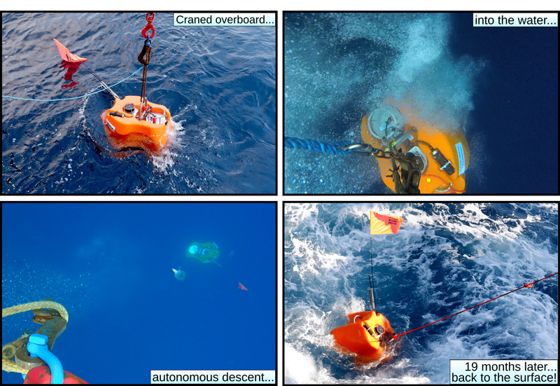 Sequence of photos showing deployment (top left, top right, and bottom left) and retrieval (bottom right) of ocean bottom seismometers
