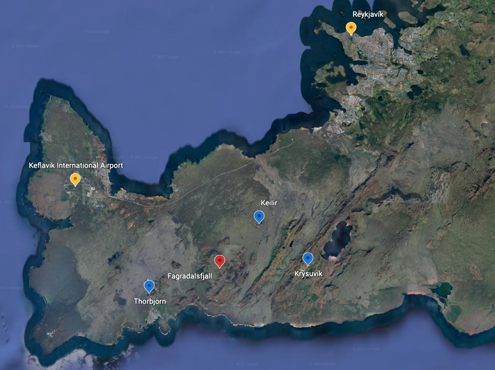 Mapa de la Península de Reykjanes en Islandia.