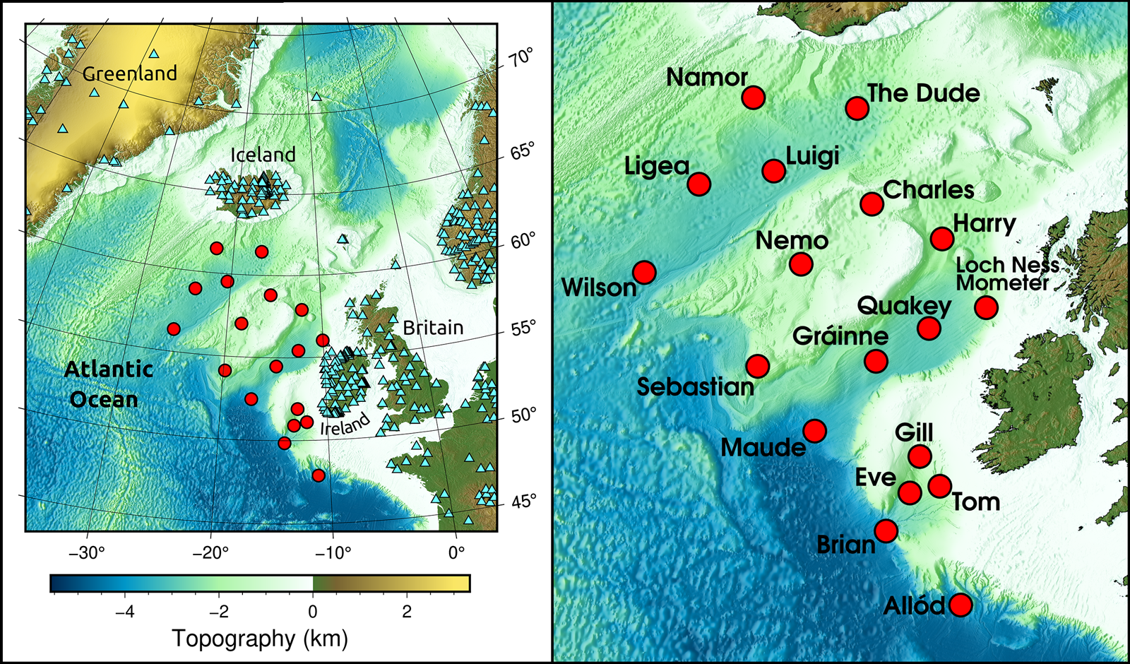 Maps of the North Atlantic showing the locations and names of ocean bottom seismic stations